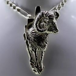 Corse et mouflon de profil en argent