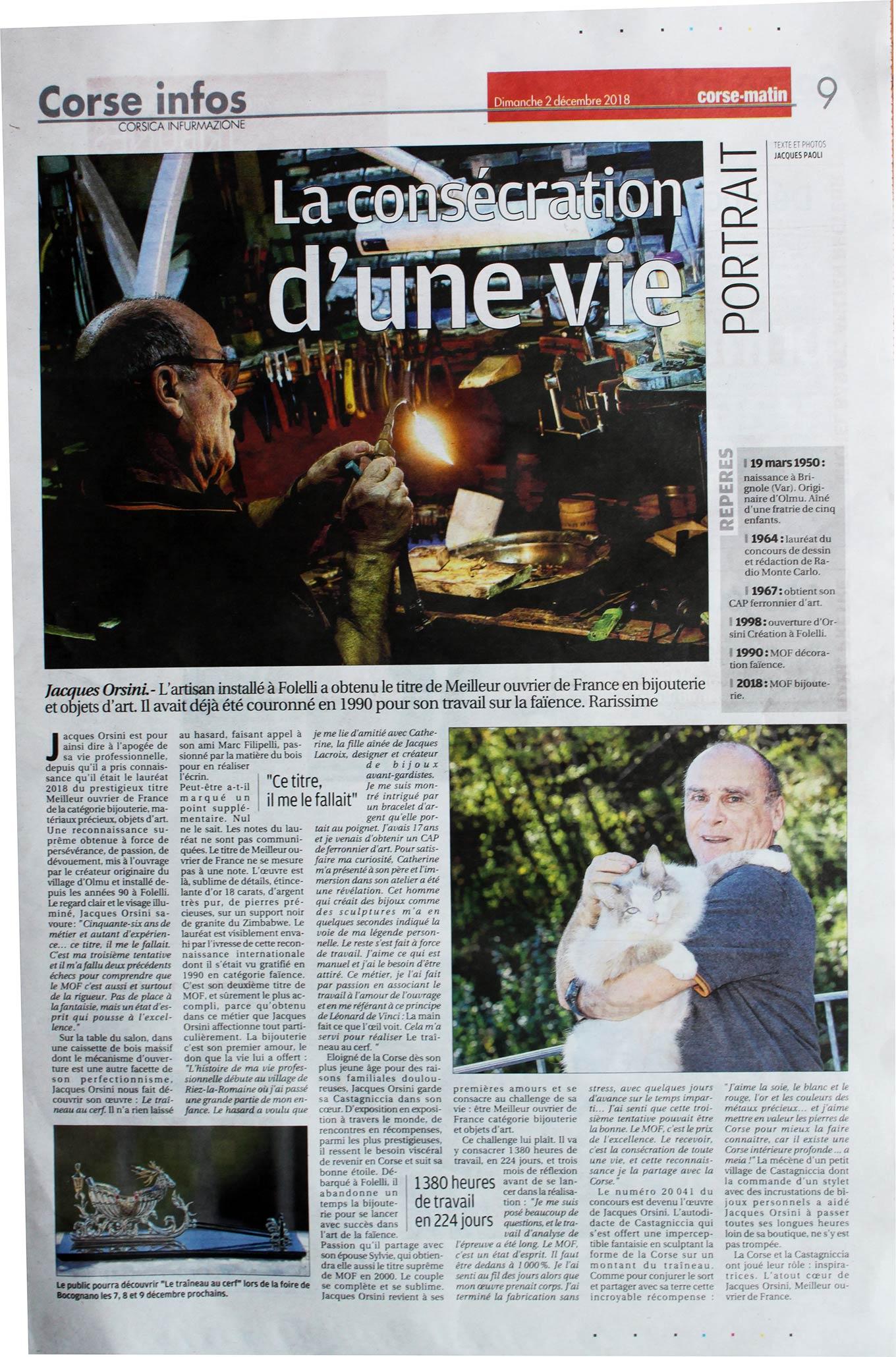 Corse Matin, Jacques Orsini