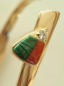Bracelet vert d'Orezza et corail