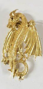 Dragon Or jaune, yeux rubis, en pendentif,