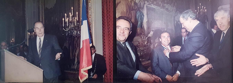 Remise du titre Meilleur Ouvrier de France Faïencier au Palais de l'Elysée 1990